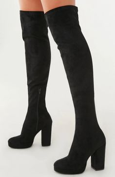 Faux Suede Over-the-Knee Boots Fashion Heels, Fashion Boots, Sneakers Fashion, Latex Fashion, Emo Fashion, Gothic Fashion, Street Fashion, Fall Fashion, Fashion Trends