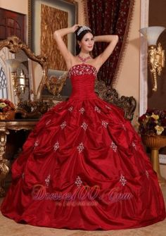 Brand New Wine Red Quinceanera Dress Strapless Taffeta Appliques Ball Gown Pretty