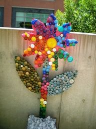 Reuse Recover Repurpose Bottle Cap Bugs and Festive Flowers Racine Art Museum Racine Wisconsin Bottle Top Art, Bottle Top Crafts, Craft Projects, Crafts For Kids, Arts And Crafts, Recycling Activities For Kids, Plastic Bottle Caps, Eco Garden, Sensory Garden