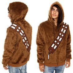 With the cold winter months here to stay, there is nothing warmer than Wookiee fur. Sure you could lightsaber zip open your TaunTaun Sleeping Bag, but are you really going to walk the street with that? What you need is a set of Wookiee fur to call your own and you can do it with this Star Wars Chewbacca Zip Hoodie.