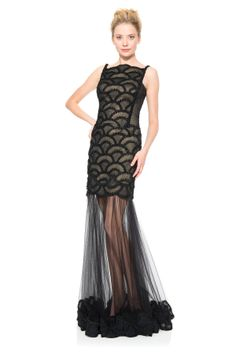 Rosette Scallop and Corded Tulle Gown - Evening Shop   Tadashi Shoji