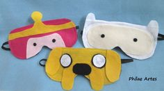 Adventure Time - Princess Bubblegum, Jake and Finn - Felt Sleeping Maks. Hora de Aventura - Princesa Jujuba, Jake e Finn. Máscaras de feltro para descanso, dormir.