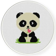 Cute Baby Panda Cross Stitch Illustration
