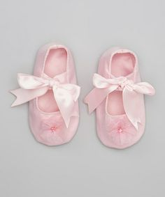 Take a look at this Pink Satin Rosette Booties by Seesaws & Slides on #zulily today!