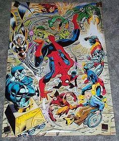 Rare vintage original 1991 Marvel Comics poster 1: X-Men/Wolverine/Spider-man/Hulk/Dr Doom/Dr Octopus/Colossus/Storm/Cyclops/Professor X/Nightcrawler. SEE 1000's MORE RARE VINTAGE MARVEL AND DC COMICS SUPERHERO POSTERS AND COMIC BOOK ART PAGES FOR SALE AT SUPERVATOR.COM