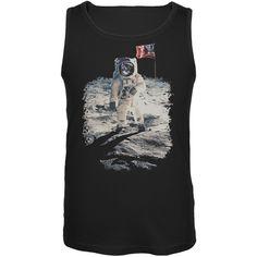 Cat Moon Landing Black Adult Tank Top