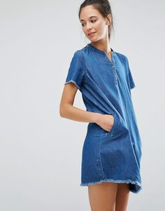 Cold Shoulder Swing Shift Dress with Bow Detail - Blue Asos Petite