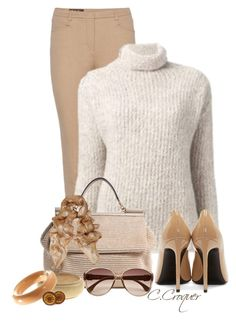 """""""Shades Of Beige"""" by ccroquer ❤ liked on Polyvore featuring Loro Piana, Armani Collezioni, Dolce&Gabbana, Alexander McQueen, Yves Saint Laurent, River Island, Patrizia Pepe, Trina Turk LA and Hermès"""