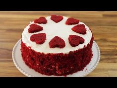 The most amazing red velvet cake recipe with cream cheese frosting. This cake is so moist, fluffy, rich and velvety. Perfect cake for holidays, birthdays, … Best Red Velvet Cake, Bolo Red Velvet, Russian Honey Cake, Heart Shaped Cakes, Valentines Day Desserts, Cream Cheese Recipes, Cake Ingredients, Beautiful Cakes, How To Make Cake