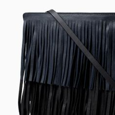 ZARA - WOMAN - LEATHER MESSENGER BAG WITH FRINGING