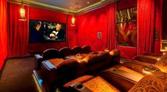 Home Theater Curtains Jeremy Renner, At Home Movie Theater, Home Theater Design, Mansions For Sale, Mansions Homes, Home Theater Curtains, Mansion Kitchen, Bel Air Mansion, House Flippers