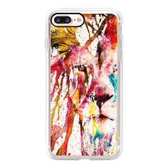 Wild Lion Sketch Abstract Watercolor Splatters - iPhone 7 Case, iPhone... (2.555 RUB) ❤ liked on Polyvore featuring accessories, tech accessories and iphone case