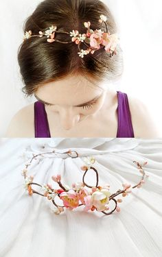 coral pink flower circlet cherry blossom bridal by thehoneycomb