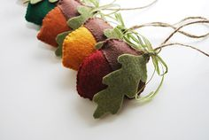 Autumn felt acorn ornaments Set of 6 Thanksgiving decor, holidays, Christmas decorations, Fall, home decor, party favors, housewarming gifts