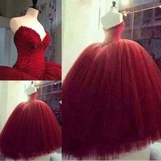 Red Quinceanera Dress Formal Gown Prom Party Ball Gown Pageant Wedding Dresses**