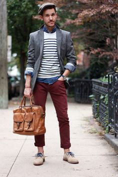 Interesting... all the favorite ingredients dumped into one: tweed jacket, newsboy cap, colored chinos, colored laces, chukkas, chambray denim shirt, and on and on...