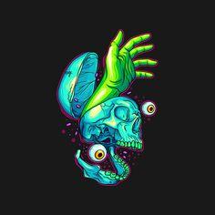 Presque Vu by artisticdyslexia Trippy Drawings, Art Drawings, Brain Painting, Graffiti Doodles, Brain Art, Beautiful Dark Art, Skull Illustration, Psy Art, Skull Artwork