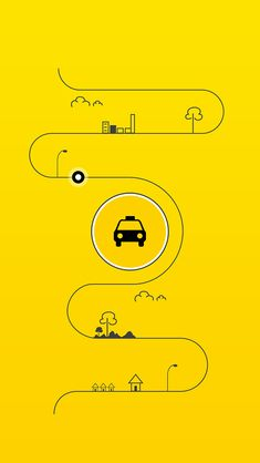 I can imagine this animating quite nicely. Simple line draws out and illustrative elements pop out subsequently. The central taxi icon and secondary shading would appear last perhaps with a slight rotation to this current state. App Ui Design, Mobile App Design, Layout Design, Web Design, Mobile Ui, Banner Design Inspiration, Ui Inspiration, Design Ideas, 99 Taxi
