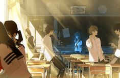 Anime classroom/ All rights go to the owners in Pixiv Art Anime, Chica Anime Manga, Anime Kunst, Anime Artwork, Manga Art, Anime Classroom, Classroom Birthday, Classroom Behavior, Classroom Language