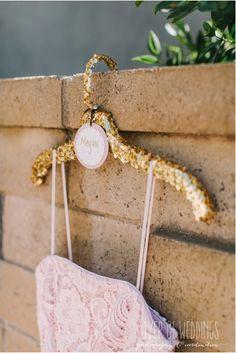 glitter covered hanger for the bridesmaid dresses   lover of weddings