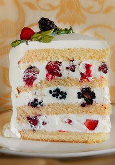 Pretty please with berries on top! Delicious Sweet Lady Jane Triple Berry Cake