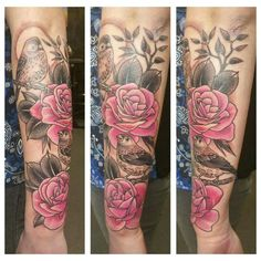 Image result for black and grey and pink tattoo