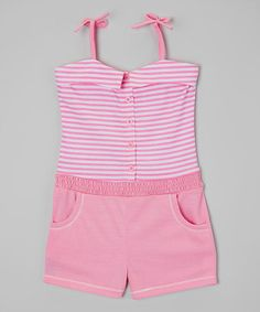 Look what I found on #zulily! Pink Stripe Pocket Romper - Infant, Toddler & Girls by Tuff Cookies #zulilyfinds