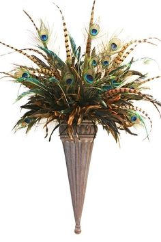 peacock bell battery wall sonce | Peacock Feather Wall Sconce by Easy Living: ... | Artificial trees an ...