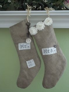 Burlap Christmas stockings- so cute and creative!