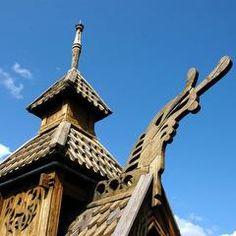 Dragehodet på Stavkirken slik den står på Folkemuseet i dag