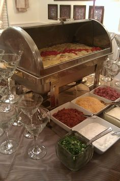 Mash potato bar - I loved the mashed potato bar at my husbands Christmas party. I think I will have to do this at my next party.