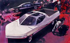 In the Syd Mead worked for Ford's Advanced Styling Studio, and designed this then-unimaginable Ford Ranger II concept: What's crazy is Syd Mead, 70s Sci Fi Art, Nike Air, Retro Futuristic, Futuristic Design, Ford Ranger, Ford Trucks, 4x4 Trucks, Chevrolet Trucks
