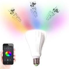 WOW! Unsere neueste Innovation: Licht und Musik kombiniert. Original Urcover Smart Bulb LED Glühbirne mit eingebautem Bluetooth Musik Lautsprecher bedienbar mit Apple oder Android Smartphone und Tablet per App über Bluetooth, Lampe E27 Sockel Weiß 49,90€