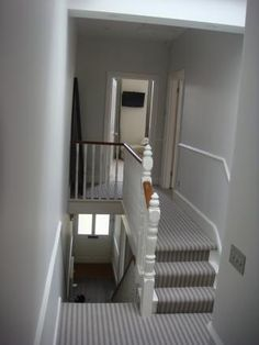Hallway carpet fresh new look stripe carpet in the hallway love stripes not sure would like carpet hallway paint ideas Striped Carpet Stairs, Striped Carpets, Grey Hallway, Hallway Paint, Striped Hallway, Victorian Hallway, Victorian House, Upstairs Landing, Hallway Inspiration