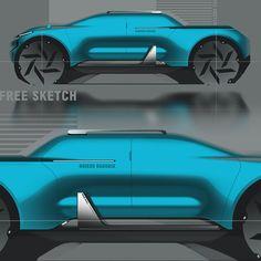 concept car design & free sketch on Behance Car Design Sketch, Car Sketch, Photoshop Rendering, Adobe Photoshop, 4x4, Automotive Design, Auto Design, Suv Trucks, Futuristic Cars