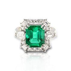 Emerald and Diamond Rings