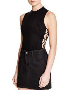 AQUA Lace Up Side Bodysuit | Bloomingdale's