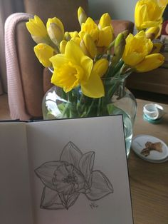 My first drawing of a daffodil ever, the angle in the picture is a little bit off ; Daffodils, Drawings, Tableware, Pictures, Photos, Dinnerware, Tablewares, Sketches, Drawing
