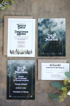 """Join us In The Mountains"" Invitation for Smoky Mountain destination wedding."