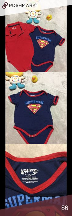 Bundle baby boy onesies Adorable onesies for baby boy, 24m, I have a big boy so he doesn't fit some clothes his size. The superman one was only worn once. The red one has a small ink mark as shown in the forth photo. I offer a great bundling discount, please check out more of my closet! One Pieces