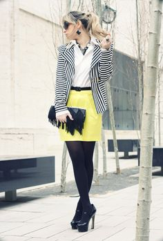NYFW 4th Day: Fluo Skirt  #fashion #style #outfit  #look , Necessary Clothing en Blazers, Accessorize en Clutches, Forever21 en Faldas, Bakers en Tacones / Plataformas