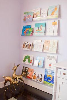 Bookshelves toddler rooms clear plastic acrylic kids bookshelf nursery throughout baby room remodel bookcase in children s Kids Room Bookshelves, Nursery Bookshelf, Floating Bookshelves, Bookshelf Ideas, Girls Bookshelf, Bookshelf Wall, Wall Shelving, Childrens Book Shelves, Ideas Dormitorios