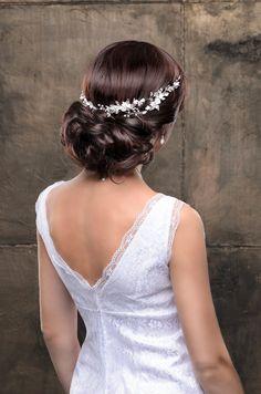 Peluca de peluca novia boda tocado de novia boda casco novia accesorios novia diadema nupcial pelo pedazo de pelo de la flor