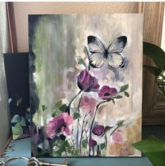 Abstract Grey and Pink Flower and Butterfly Painting – Sierra Briggs Art – Painting ideas Diy Painting, Painting & Drawing, Painting Process, Butterfly Painting, Lovers Art, Painting Inspiration, Art Drawings, Art Projects, Abstract Art