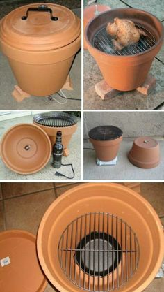 Build a grill yourself from clay pot - step by step instructions .- Grill selber bauen aus Tontopf – Schritt für Schritt Anleitung Build your own grill out of clay pot – step by step instructions - Diy Craft Projects, Diy Garden Projects, Diy Projects For Teens, Diy For Teens, Diy Crafts, Diy Father's Day Gifts, Father's Day Diy, Diy Barbecue, Grill Diy