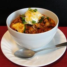 Terrific Turkey Chili Allrecipes.com I added a can of refried beans.
