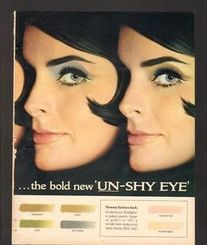 1966 Print Ad Revlon eye makeup sexy lady pretty liner