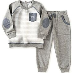 Calvin Klein Baby Pullover with Pockets Pants Set, Gray, 12 Months: Boys 2 pieces pant set - stripes pull over French terry with logo and pants Baby Outfits, Kids Outfits, Jogger Outfit, Jogger Pants, Baby Boy Fashion, Kids Fashion, Calvin Klein 2, Kids Dress Wear, Baby Boys