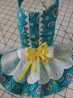 D ring for leash attachment, velcro closures at neck and chest. Rick rack trim down center at d ring. Skirt has fabric ruffle with top ruffle eyelet lace with embroidered Yorkie Dogs, Pet Dogs, Pets, Online Pet Supplies, Dog Supplies, Tiny Puppies, Diy Dog Treats, Dog Clothes Patterns, Dog Items