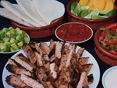 Strips of pork marinated in lime, chili and cumin and grilled are served with sliced mango, avocado, and savory sautéed peppers and onions along with warm tortillas to create a fajita fiesta.Ingredients1 1/2 pound pork tenderloin cut lengthwise into 4 … Continue reading →